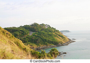 Phromthep cape viewpoint with blue sky Phuket, Thailand