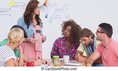phtograph, het tonen, vergadering, redacteur, team