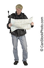 Phtographer hiker with map
