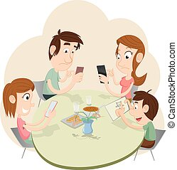 During a dinner, everyone playing with smartphones and ignoring each other. EPS 10 illustration.