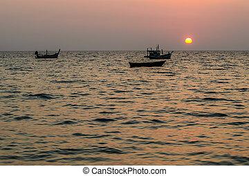 phuket , θαλασσογραφία , nai, thon , ηλιοβασίλεμα , βάρκα , παραλία