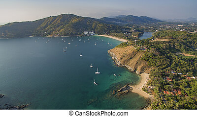 phuket, 航空写真, 島, 南, andaman, 西, タイ, 浜, 光景