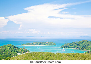 Phuket Bay Thailand - Aerial view landscape of Bay and ...