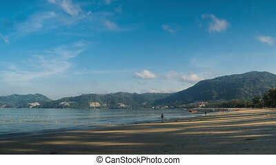 Phuket beach in the morning, time lapse video