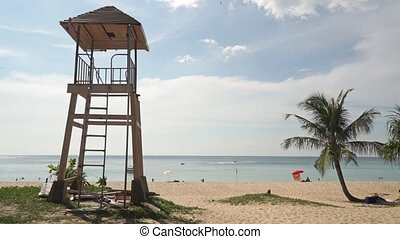 Phuket beach rescue tower at sunny day