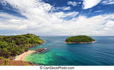 Phuket beach, tropical island and sea view. Thailand summer...