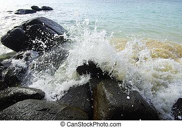 (phuket, esmagar, thailand), ondas, pedras