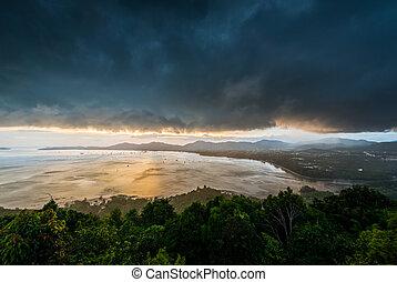 phuket, kao, punto de vista, tiempo, khad, ocaso, phuket, ...