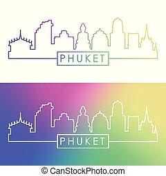 phuket, linéaire, coloré, ville, skyline., style.