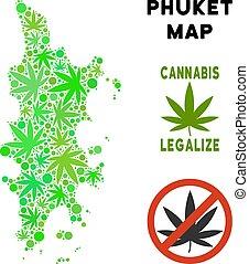 phuket, mappa, collage, foglie, marijuana, libero, regalità