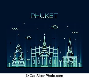 phuket, modny, wektor, ilustracja, linearny, styl