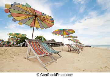 phuket, ombrello, colorito, tailandia, sedia, spiaggia