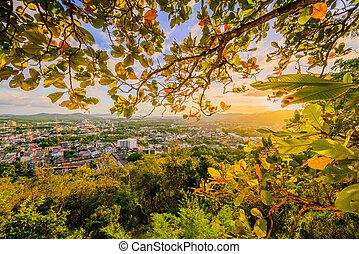 phuket, punto de vista, khao, ocaso, rang, tailandia, ...
