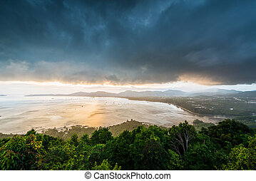 phuket, punto de vista, tiempo, ciudad, kao, phuket, ocaso, ...
