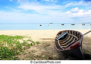 phuket, sandstrand, nai, yang, thailand, sandstrand, boot