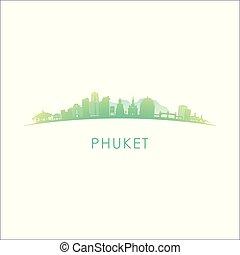Phuket skyline silhouette.