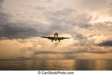 phuket, thailand., nai, avión, playa puesta sol, paisaje, ...