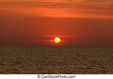 phuket, thailand., nai, playa, ocaso, paisaje, provincia, ...