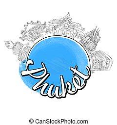Phuket travel logo sketch