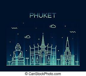 Phuket Trendy vector illustration linear style