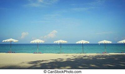 phuket, umbrellas, белый, пляж, тропический, surin, ряд, таиланд