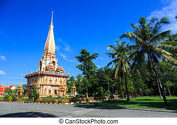 phuket, zonnig, tempel, chalong, thailand, wat, dag