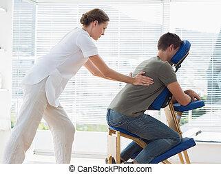 phy, annahme, rückenmassage, mann