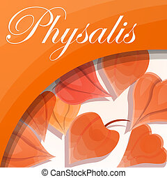 Physalis concept background, cartoon style