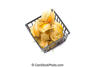 Physalis heap in a backet isolated on white