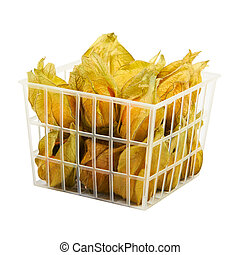 Physalis in plastic basket isolated on white.