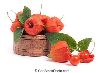 physalis in wooden bowl isolated on white background