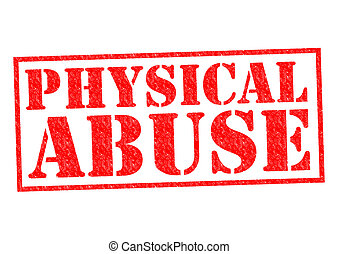 PHYSICAL ABUSE red Rubber Stamp over a white background.