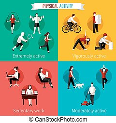 Physical activity flat set of extremely vigorously...
