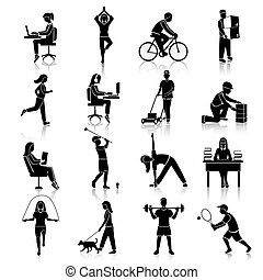 Physical activity black icons set with people cycling reading training isolated vector illustration