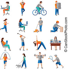 Physical activity icons - Physical activity healthy...
