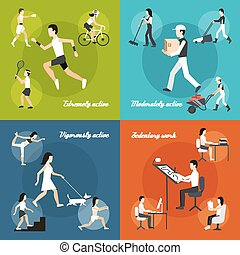 Physical Activity Set - Physical activity design concept set...