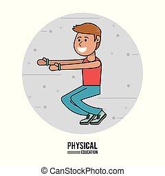 physical education - boy exercise squats sport design vector...