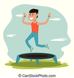 physical education - boy jumping trampoline sport