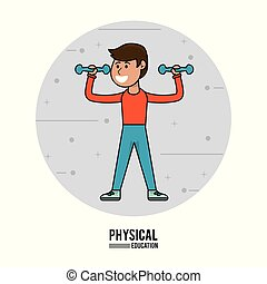physical education - boy lifting dumbbell sport