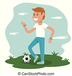 physical education - boy playing soccer sport school vector ...