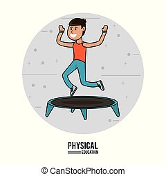 physical education - boy practice jumping trampoline sport ...