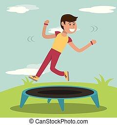 physical education - boy training jumping trampoline sport ...