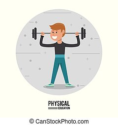 physical education - boy weight lifting gym sport vector ...