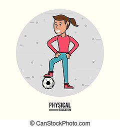 physical education - girl training soccer ball