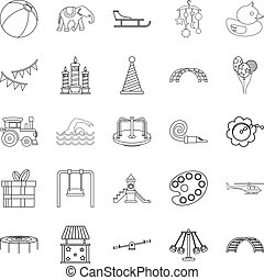 Physical education icons set, outline style