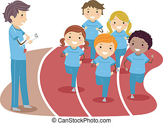 Physical Education - Illustration of Kids Running Around a...