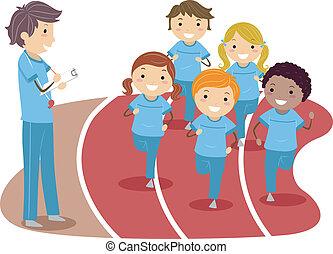 Illustration of Kids Running Around a Race Track