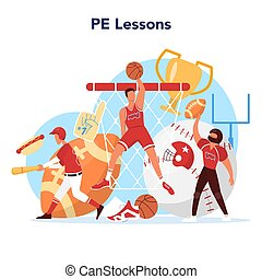 Physical education lesson school class concept. Students ...