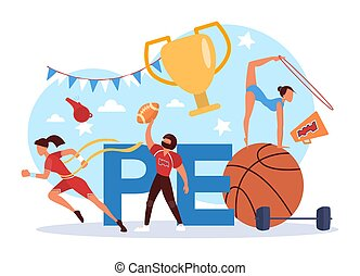Physical education lesson school class typographic header ...