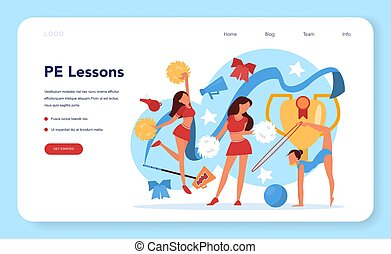 Physical education lesson school class web banner or landing...